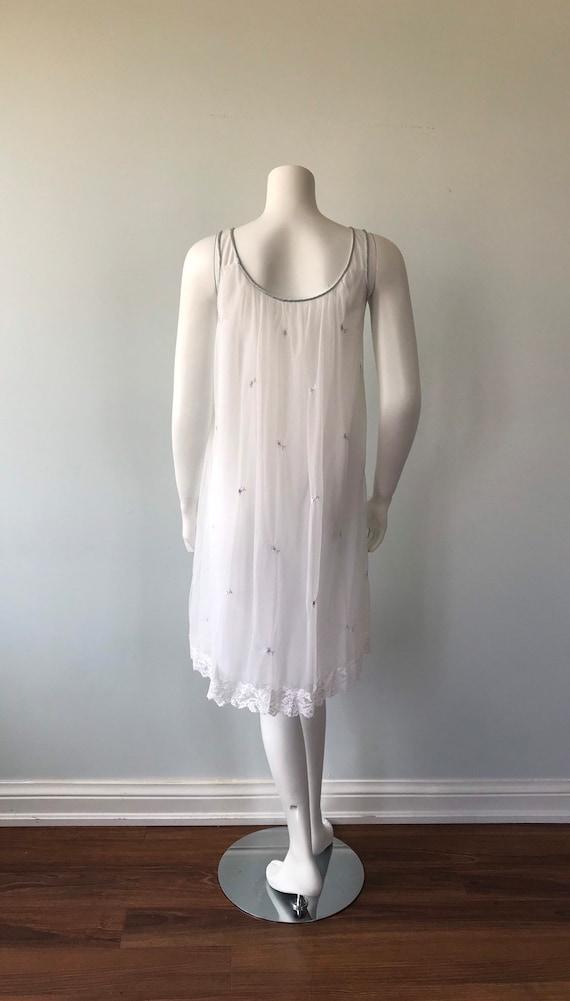 Vintage White Chiffon Nightgown, Miss Siren, 1960… - image 7