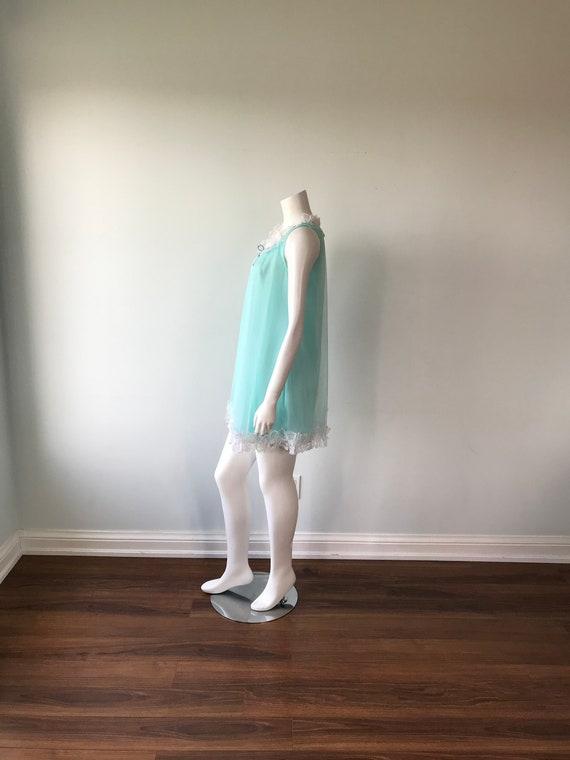 Vintage Aqua Chiffon Nightgown, D'Allards, 1960s … - image 4