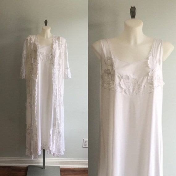 Vintage White Peignoir Set, White Peignoir, 1970s