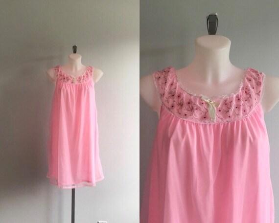 Vintage Pink Chiffon Nightgown, 1960s Chiffon Nigh