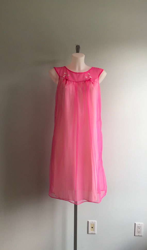 Vintage Pink Chiffon Nightgown, Short Nightgown, … - image 2