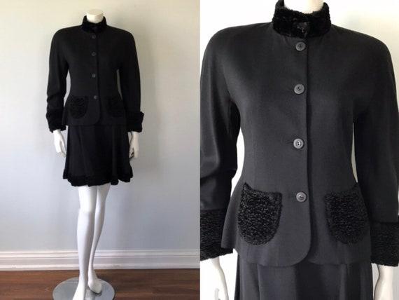 Vintage Ladies Skirt Suit, Vintage Black Suit, Cri