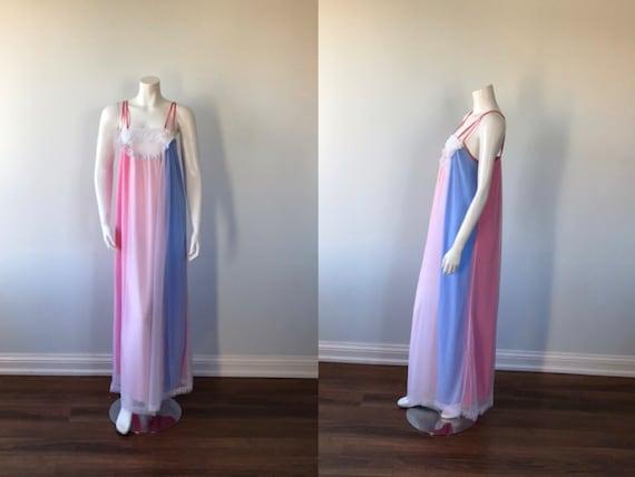 Vintage White Chiffon Nightgown, 1960s Chiffon Nig