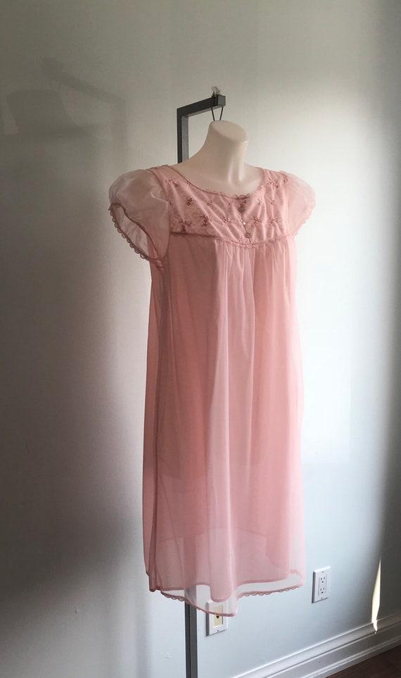 Vintage Pink Chiffon Nightgown, 1960s Chiffon Nig… - image 4
