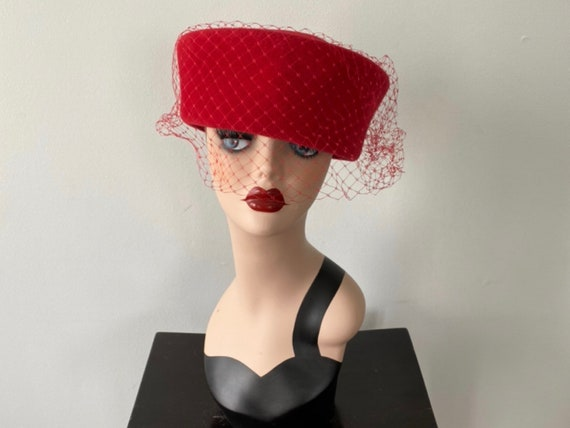 Vintage Pill Box Hat, 1950s Hats, 1950s Pill Box H