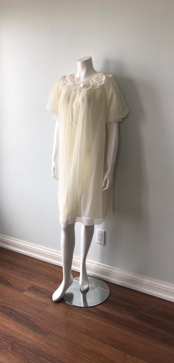 Vintage Chiffon Nightgown, St Michael, Pale Yello… - image 7