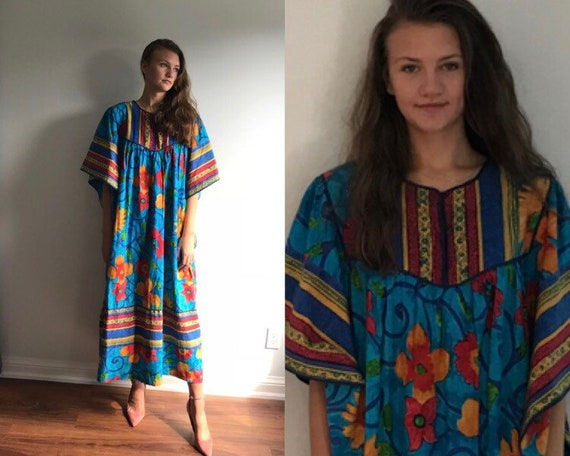 Vintage Cotton Caftan, La Lingerie, 1970s Cotton C