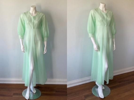 1970s Double Chiffon Robe, Double Chiffon Green Ro