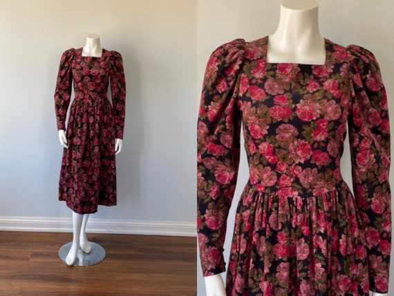 1980s Laura Ashley Floral Cotton Corduroy Dress, C