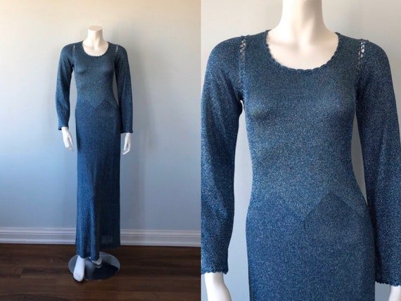Vintage Blue Metallic Maxi Dress, 1970s Blue Metal