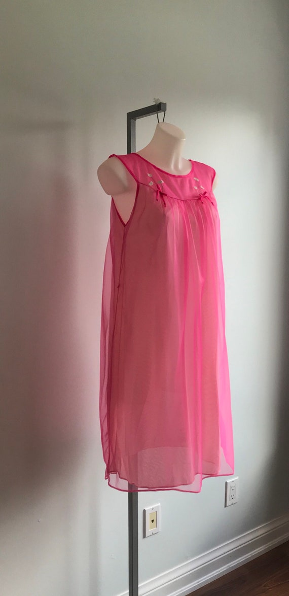 Vintage Pink Chiffon Nightgown, Short Nightgown, … - image 5