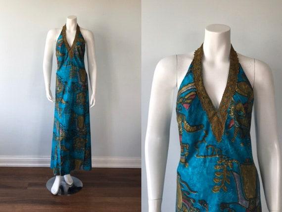 Vintage 1970s Halter Maxi Dress, 1970s Maxi Dress,