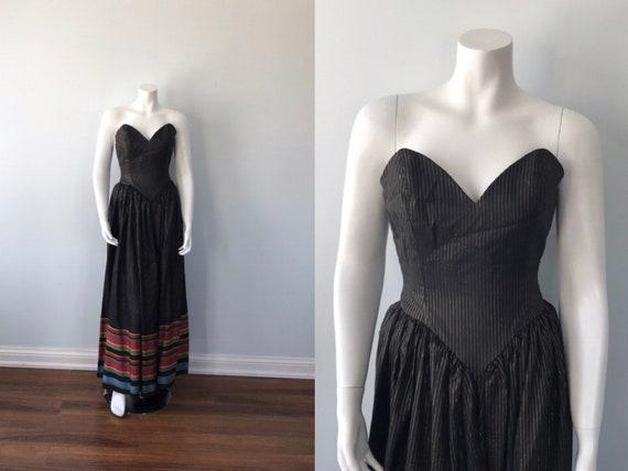 Vintage 1970s Maxi Dress, Strapless Maxi Dress, B… - image 1