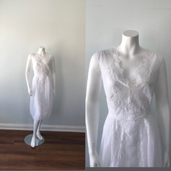 Vintage White Chiffon Nightgown, 1960s Nightgown,