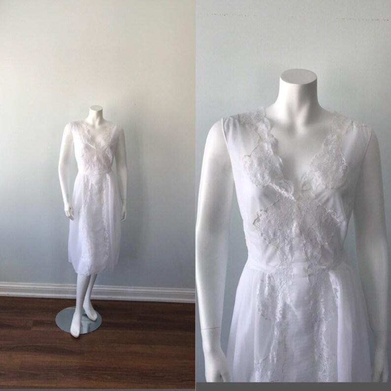 wholesale dealer e3a05 303da Vintage weiß Chiffon Nachthemd, 1960er Jahre Nachthemd, Granada, Vintage  Nachthemd, Vintage Dessous