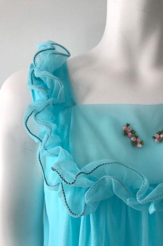 Vintage Aqua Chiffon Nightgown, Canadian Maid, 19… - image 4