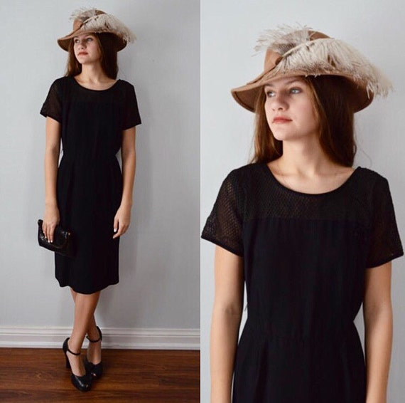 Vintage Black Dress, Cocktail Dress, 1960s Black D