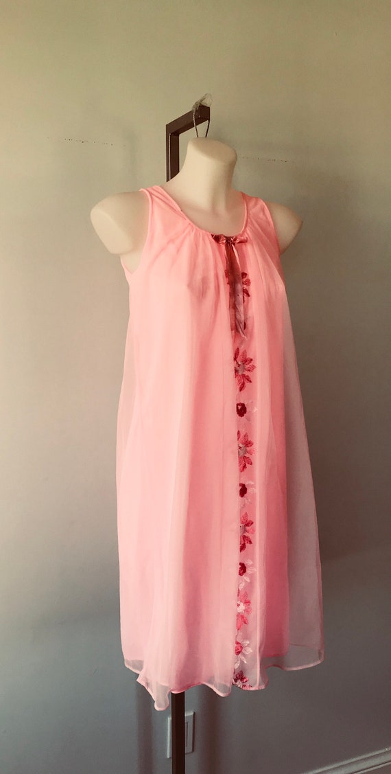 Vintage Pink Chiffon Nightgown, 1960s Pink Nightg… - image 4