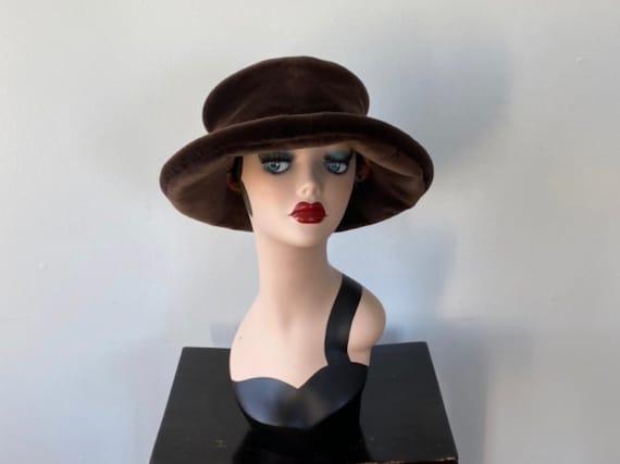 Vintage Brown Velvet Brimmed Hat, Shelley West, Fa