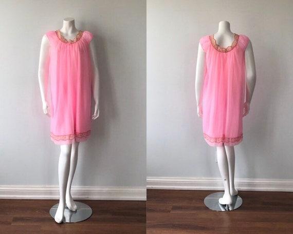 Vintage Pink Chiffon Nightgown, Slumber Suzy, Pink