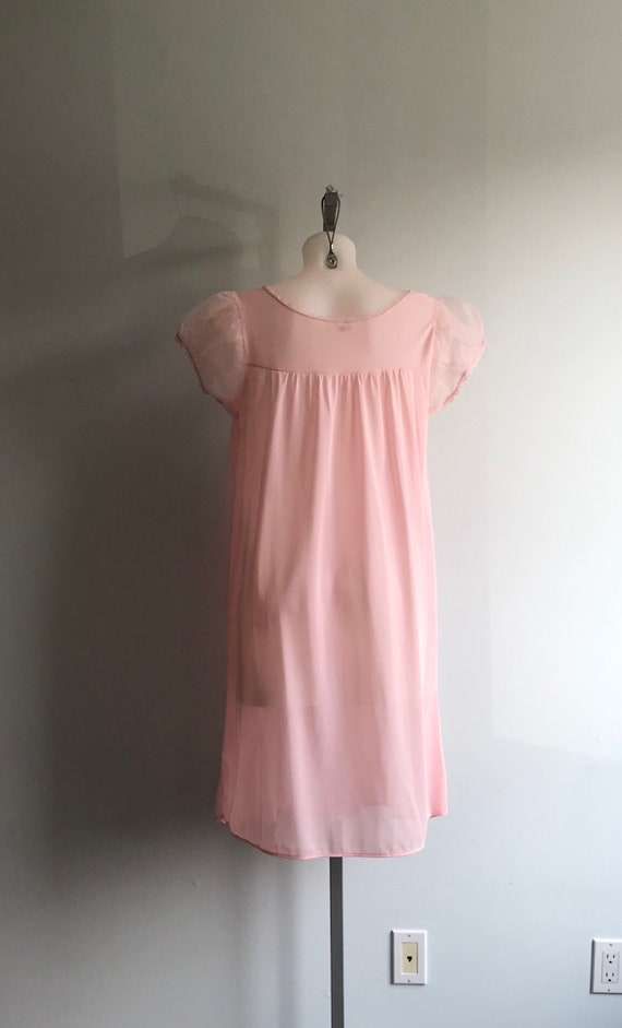 Vintage Pink Chiffon Nightgown, 1960s Chiffon Nig… - image 8