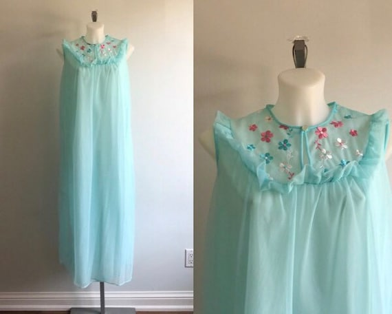 Vintage Nightgown, Vintage Chiffon Nightgown, Aqua