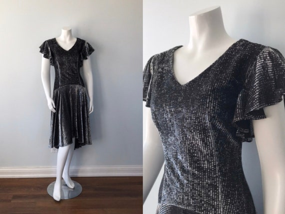 Vintage 1970s Dress, Cami, Silver Lame Dress, Vint