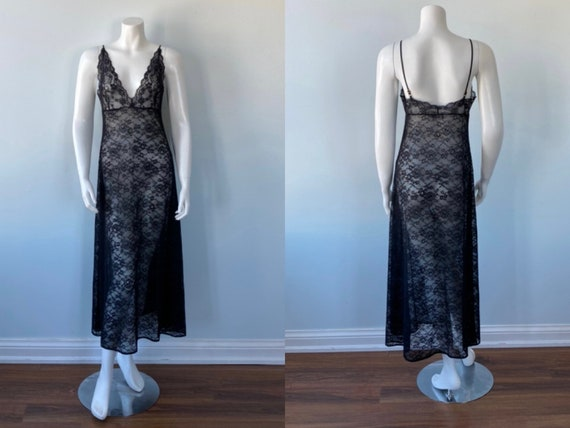 Black Lace Nightgown, Vintage Nightgown, Christine
