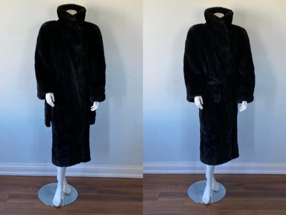 Vintage Black Faux Fur Coat, 1960s Faux Fur Coat,