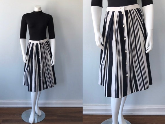 Vintage Jousse Black and White Striped Pleated Cot