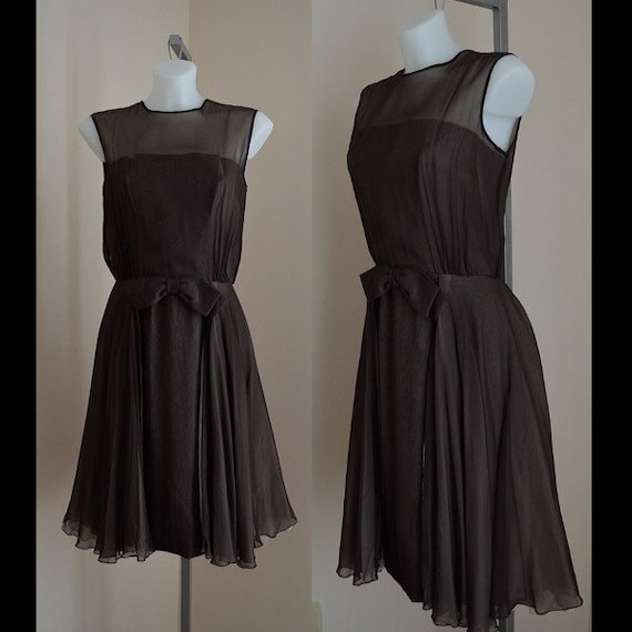 Vintage 1960s Brown Chiffon Dress, Chiffon Dress,