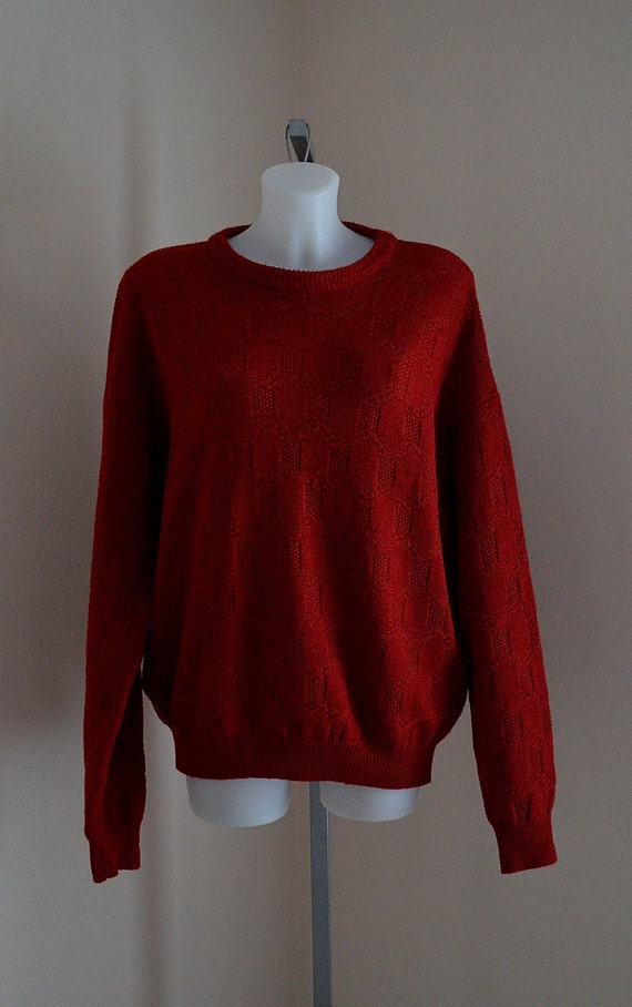 Vintage 1980s Yves Saint Laurent Red Wool Mens Swe