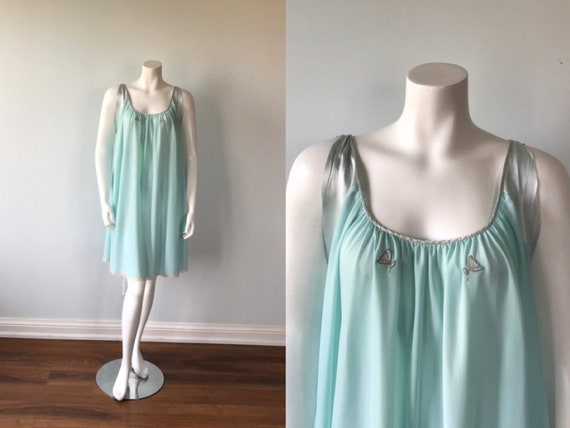 Vintage Lucie Ann Nightgown, Mint Green Nightgown,
