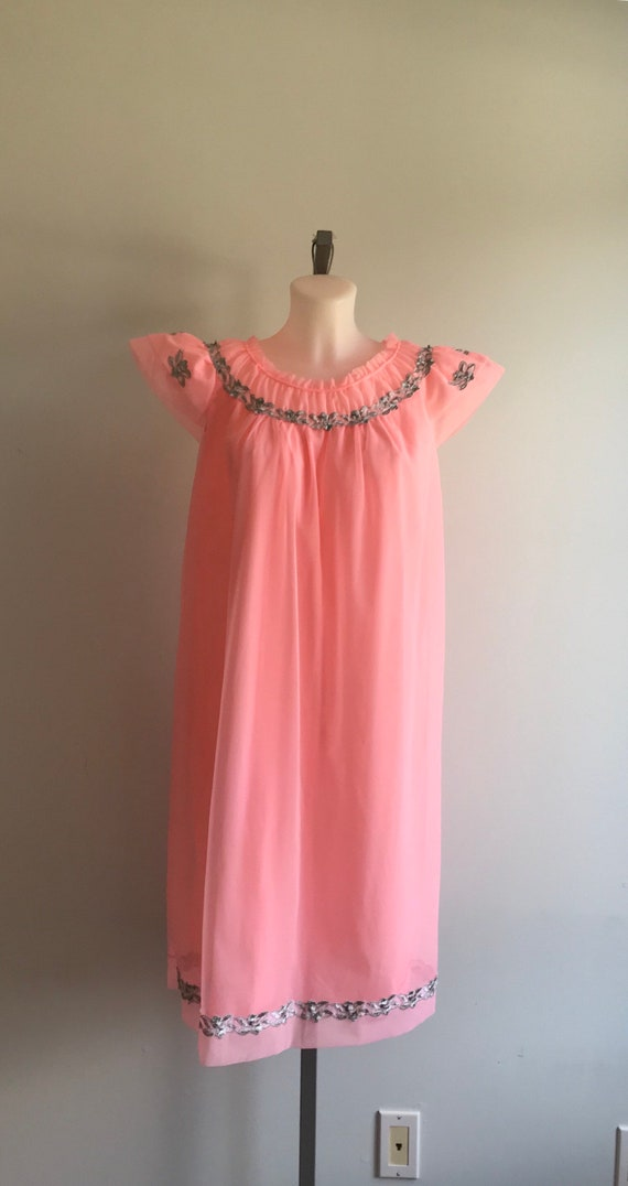 1960s Pink Chiffon Nightgown, Canadian Maid, 1960… - image 2