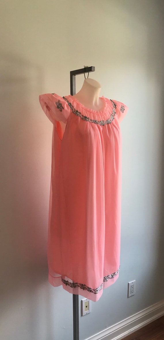 1960s Pink Chiffon Nightgown, Canadian Maid, 1960… - image 3