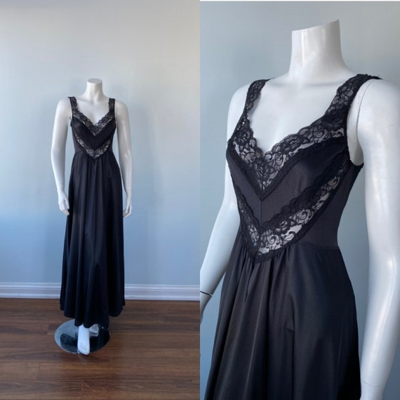 Vintage Black Nightgown, Undercover Wear, 1980s Ni
