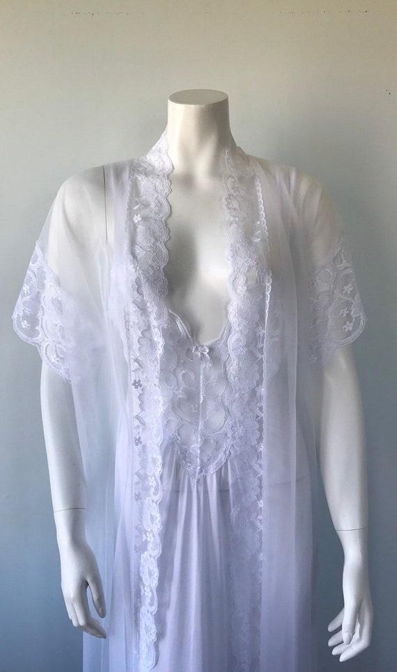 Vintage White Peignoir Set, White Peignoir Set, V… - image 4