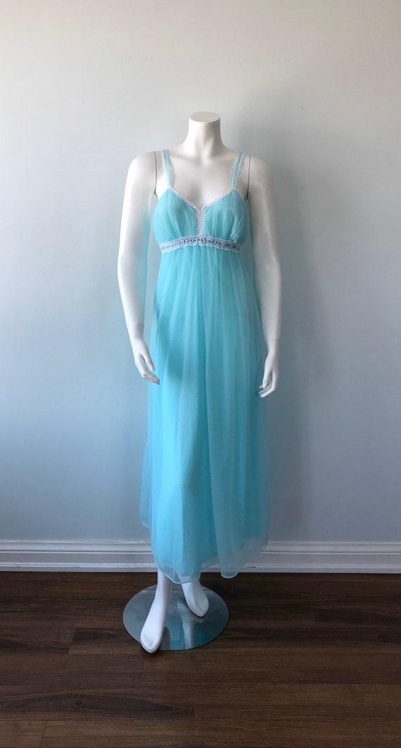 Vintage Chiffon Nightgown, French Maid, Blue Nigh… - image 2