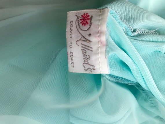 Vintage Aqua Chiffon Nightgown, D'Allards, 1960s … - image 6