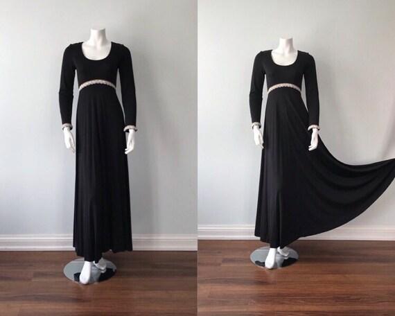 Vintage Black Evening Gown, 1970s Black Evening Go