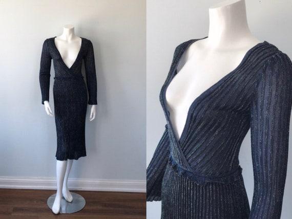 Vintage Knit Dress, 1990s Blue Knit Dress, Silk Kn