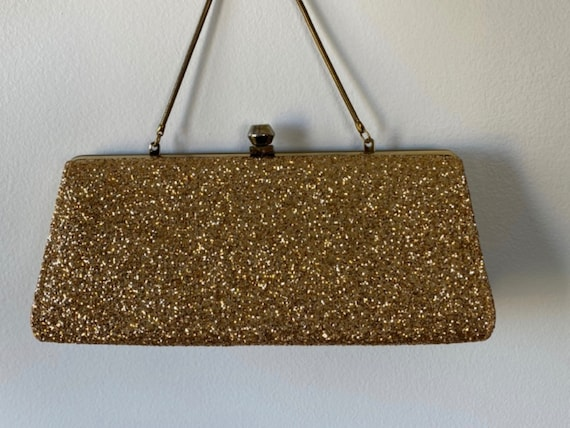 1950s Gold Glitter Evening Clutch, Vintage Gold Cl