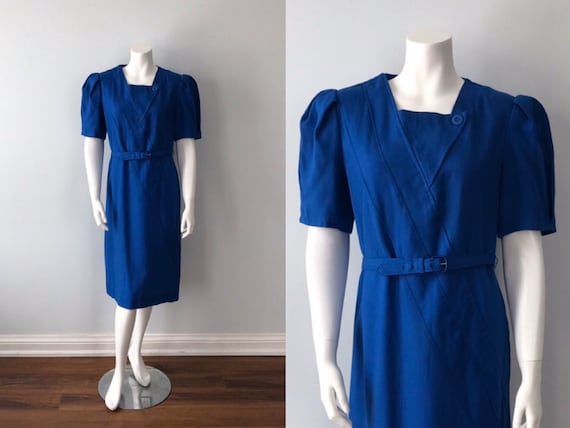 Vintage Blue Dress, Lanvin, 1970s Dress, Vintage L