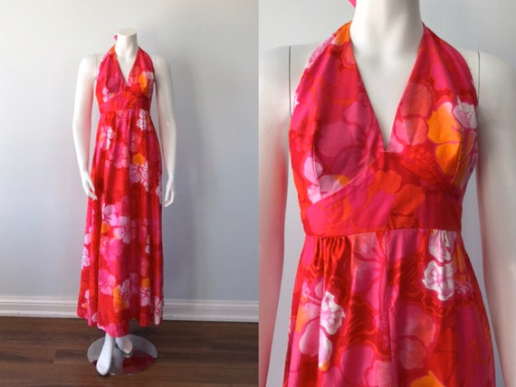 Vintage Halter Dress, Wika of Hawaii Ltd, 1960s Ha
