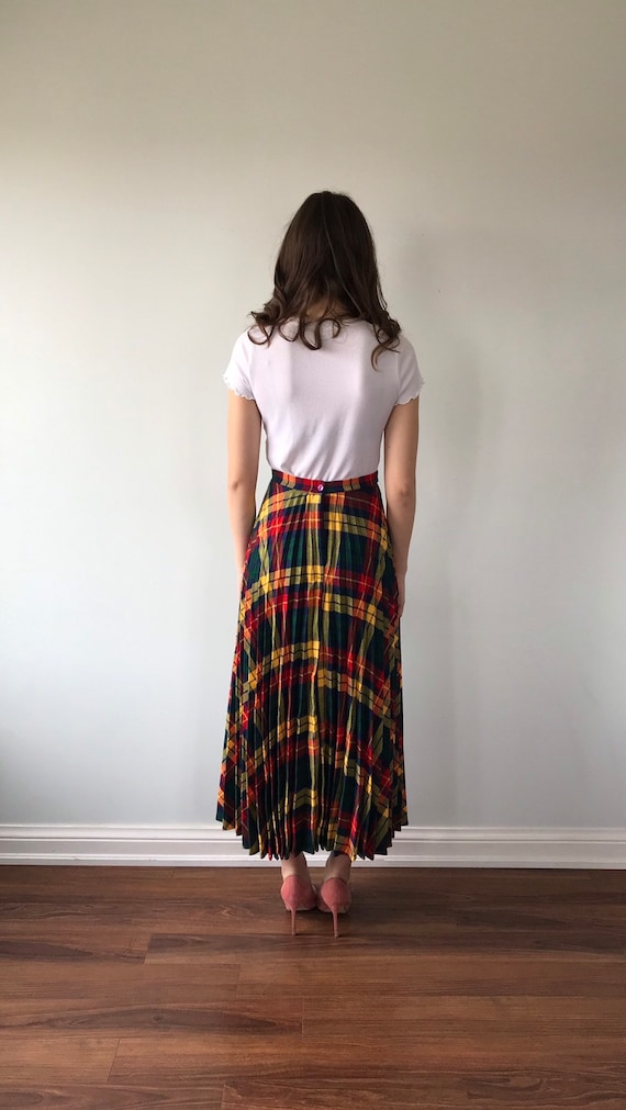 Vintage Plaid Pleated Skirt, 1960s Skirt, Pleated… - image 6