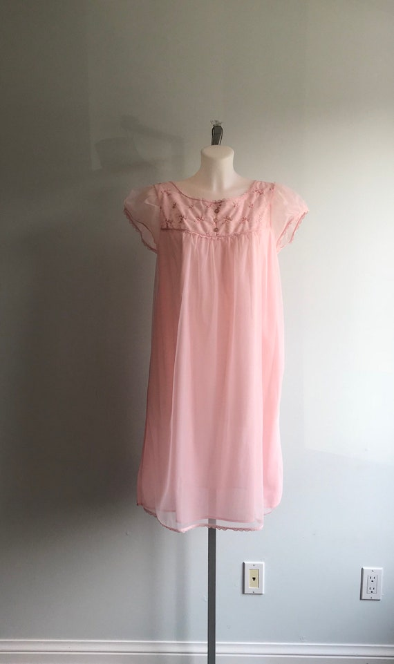 Vintage Pink Chiffon Nightgown, 1960s Chiffon Nig… - image 2