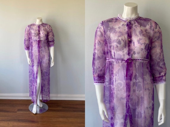 Vintage Chiffon Negligee, Purple Floral Chiffon Ne