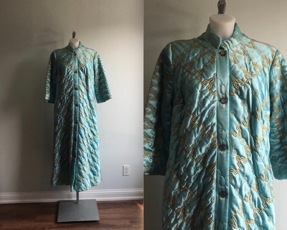 Vintage Quilted Robe, 1960s Quilted Robe, Lounge T