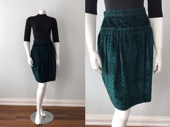 Vintage Green Velvet Skirt, 1970s Skirt, Kenzo Par