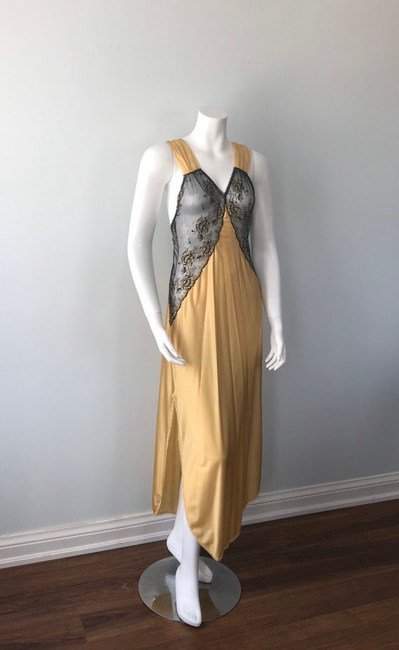 Vintage Nightgown, Luxite, 1950s Nightgown, Gold … - image 4